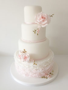 Roses Pearls and Ruffles Wedding Cake