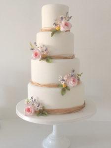 Spring Flowers Rustic Wedding Cake