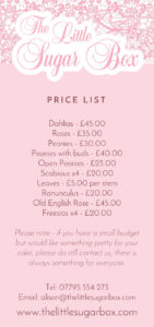 The Little Sugar box Price List