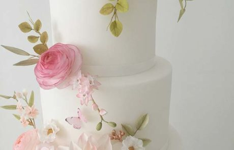 wedding cake with handmade sugar flowers